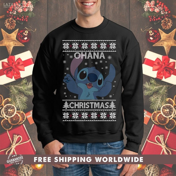 5e048170b Ohana Christmas Ugly Sweater Crewneck Sweatshirt Stitch