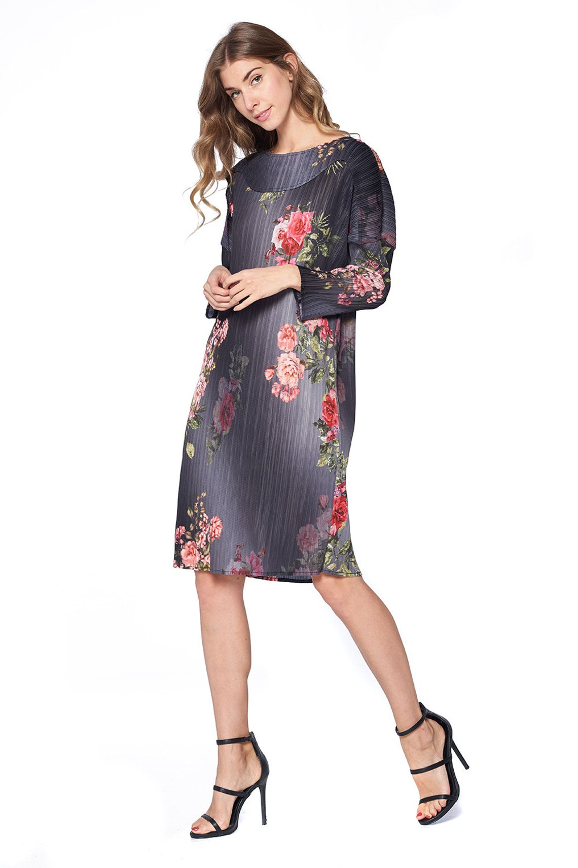Pleated Edite Flower Dress Grey 60996