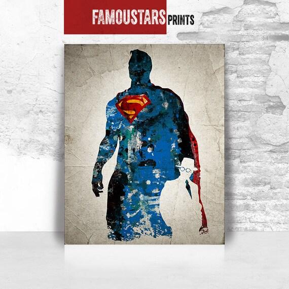 Superman print Superman wall art Justice league print DC | Etsy