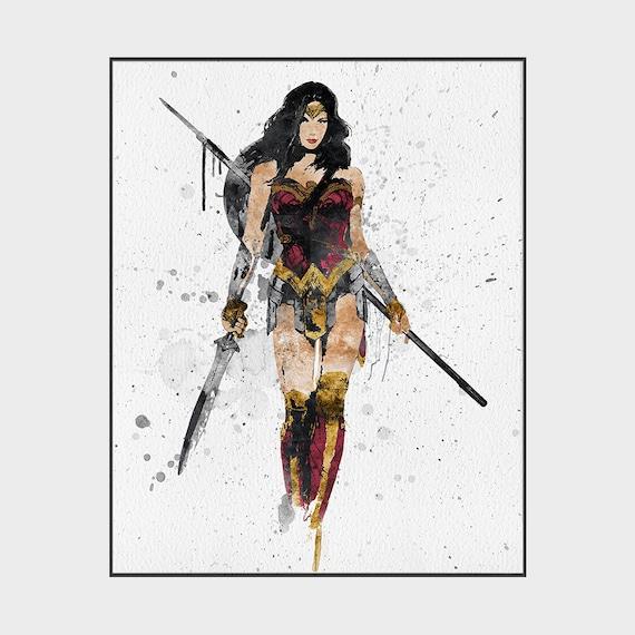 Wonder Woman Print Wonderwoman Poster Justice League Wall Etsy