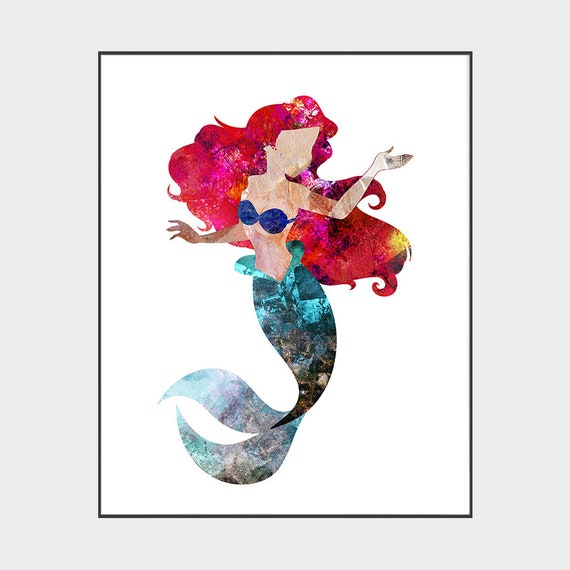 Little Mermaid Art Print Ariel Poster Disney Princess Etsy