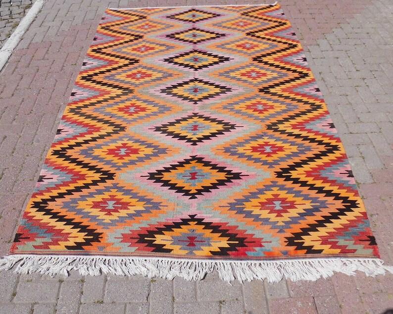 Geometric Vintage Kilim Rug Area Rug Diamond Kelim Carpet 71 X 108 Floor Rug 180 X 275 Cm Turkish Rug Bohemian Home Decor