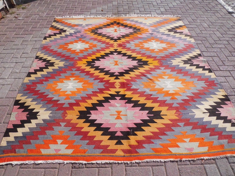 Orange Ice Blue Rhombus Design Kilim Rug Area Rug Large Rug Kelim Carpet 100 X 85 5 Inches Vintage Floor Rug 254 X 217 Cm