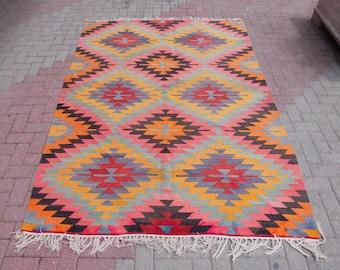 """Geometric Design vintage Kilim turc, grand tapis, carpettes, tapis vintage, bohème tapis, tapis turcs, tapis rose, tapis extérieur, 69 """"x 98"""""""