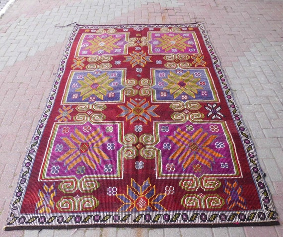 Art Kilim Wool Rug: Goat Hair Wool Kilim Rug Outdoor Rug Large Rug Kelim Rug