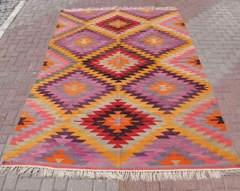 "Large area kilim rug, vintage floor rugs, yellow purple carpet, diamond kilims, dining room carpets, boho home decor, tapis, 75.5"" x 111"""