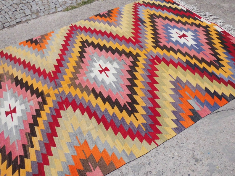 Orange Vintage Kilim Rug Area Rug Diamond Kelim Carpet 84 5 X 124 Floor Rug 209 X 315 Cm
