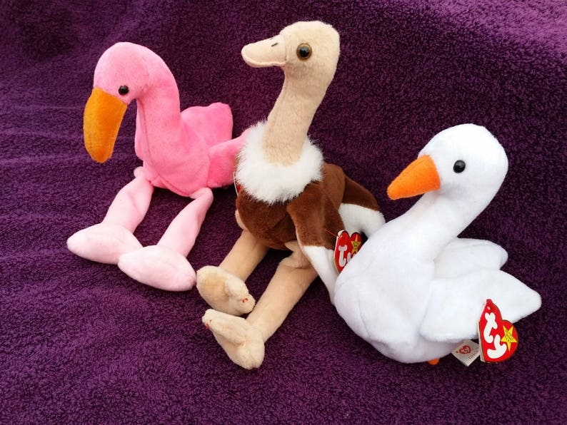 1688896a683 3 Beanie Babies Stretch Pinky and Gracie PVC and PE Pellets