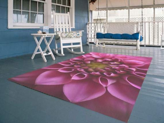 Flower Decorative Area Rug Pink Flower Rug Floral Floor Etsy