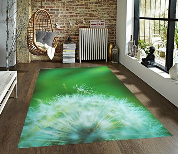 Dandelion Decorative Area Rug, Flower Rug, Dandelion Puff Floor Covering,  Green Living Room Floor Rug, Kitchen Decor, Accent Carpet
