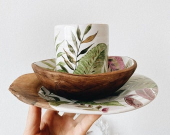 Botanical dinnerware set 3 items - Tropical leaves mug, ceramic cream soup bowl, hand thrown rough plate - by Tiletiletesto