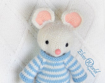 Toy knitting pattern-White mouse-knitted toy pattern-Amigurumi-ElvesWorld toy-knit patterns-little mouse pattern