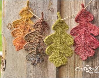 Knitting pattern Oak leaf ornament Knitted oak leaves PDF-pattern Knit fall ornaments Burnt orange Leaves Knit tutorial DIY Rustic oak leaf