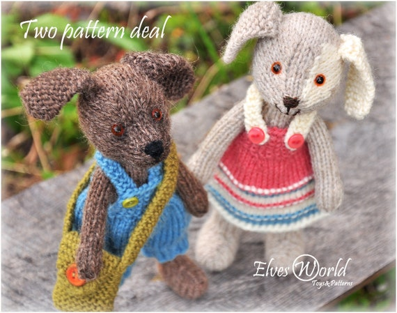 Toy Knitting Patterns Two Pattern Deal Pattern Knitting Dog Etsy