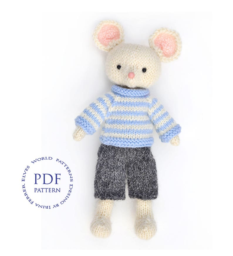 Toy knitting pattern-White mouse-knitted toy image 0