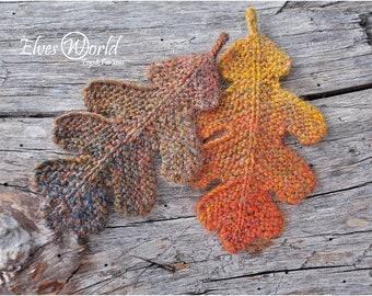 Knitting pattern Oak leaf ornament Knitted oak leaves Burnt orange decor PDF-pattern Autumn leaves Knit fall ornaments Knit tutorial DIY