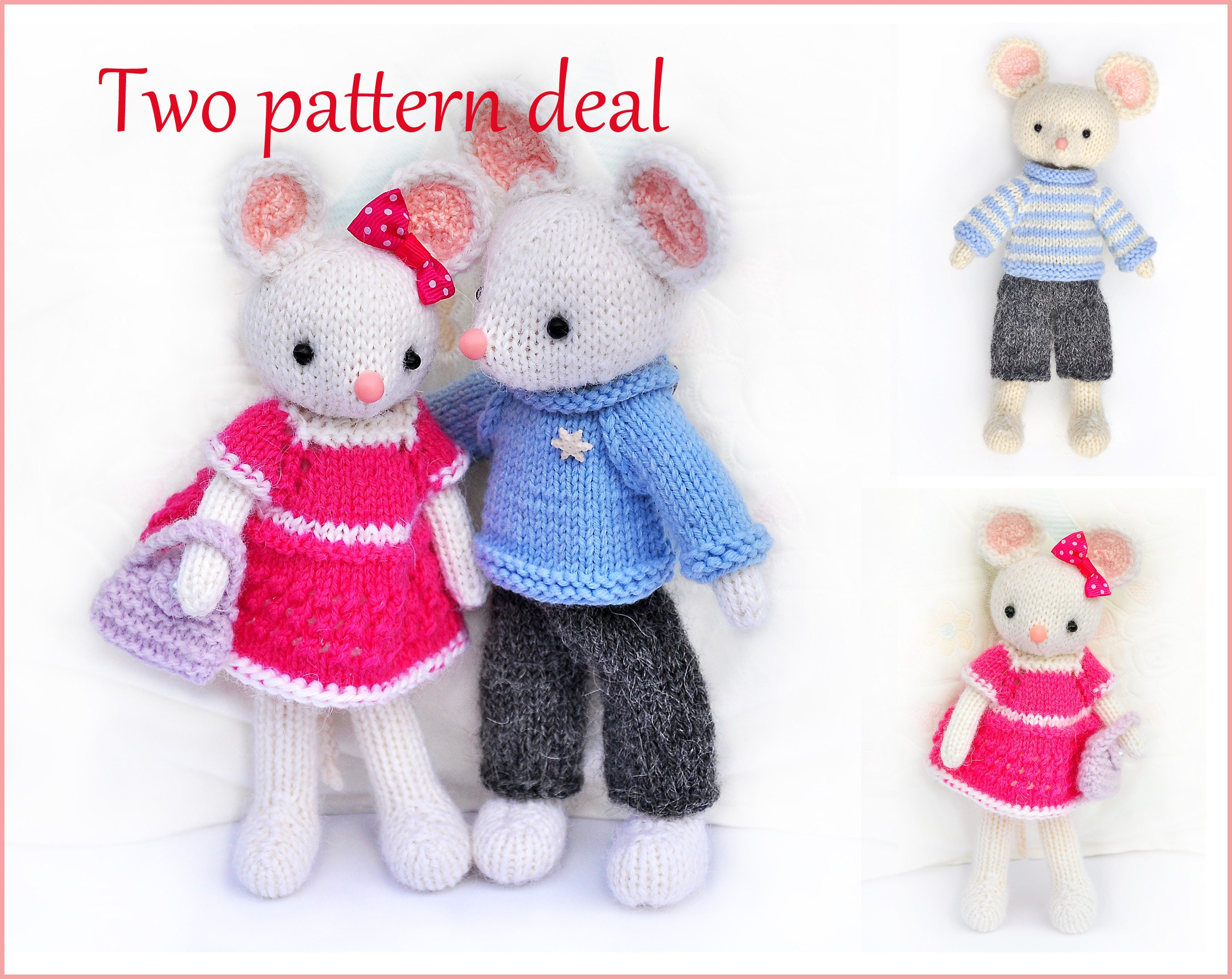 Toy knitting patterns-Two pattern deal-Little mice Lilly and | Etsy