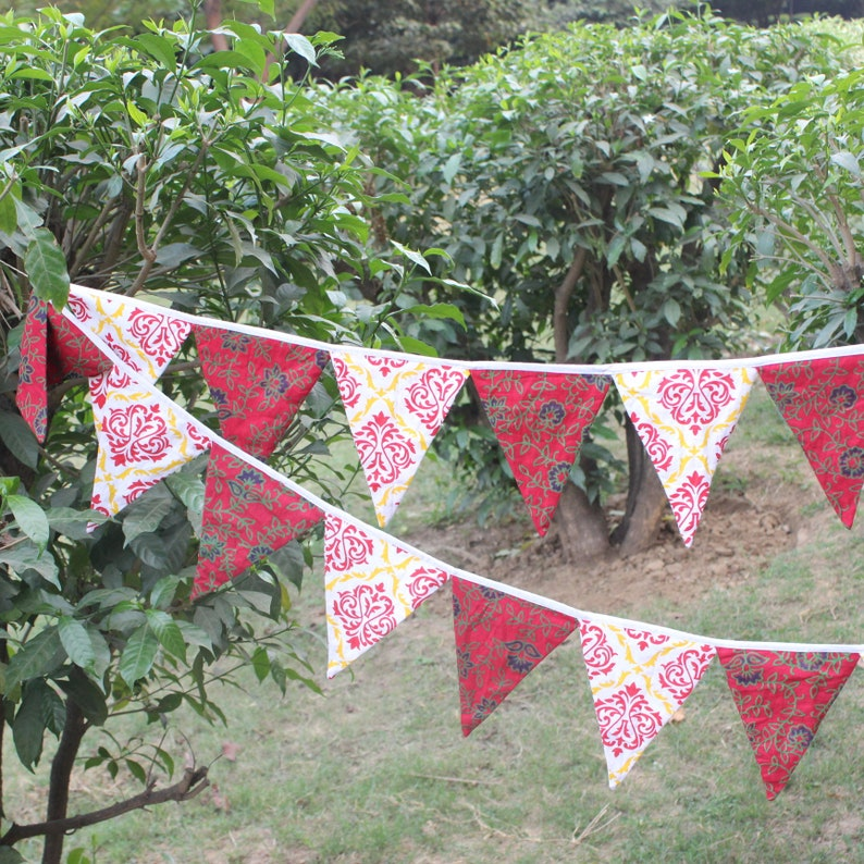 wedding bunting party banner pennant Flag Garland Pennant Bunting Flag 9 ft red Fabric Bunting Flags Boho Fall bunting Christmas flag