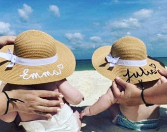 Baby and Toddler Straw Beach Hat Summer Hat with Ribbon