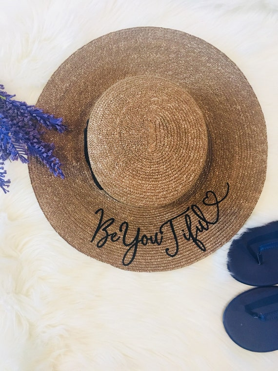Custom Boater Hat Personalized hat with Ribbon Beach hat  4ea21b876dd