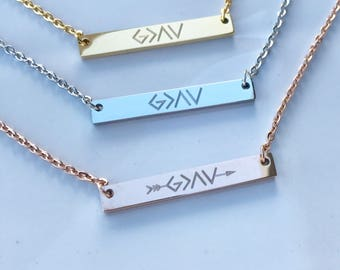 Bar Necklace - God is Greater Than the Highs and Lows  - Personalized Gift For Her - Initial Necklace - Inspirational Necklace