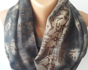 Korean Letters on Khaki Infinity Scarf- Korean Typography Scarf- Korean Letters Loop Scarf- Hangul- Hanji- Korean Letters