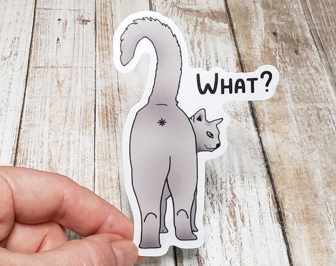 What? Cat Butt Vinyl Sticker