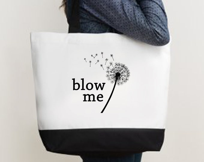 Blow Me Dandelion Deluxe Two Tone Tote Bag