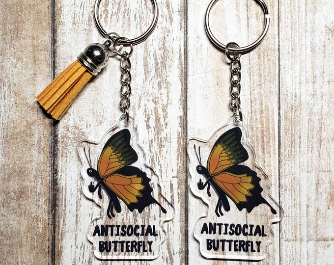 Antisocial Butterfly Acrylic Keychain