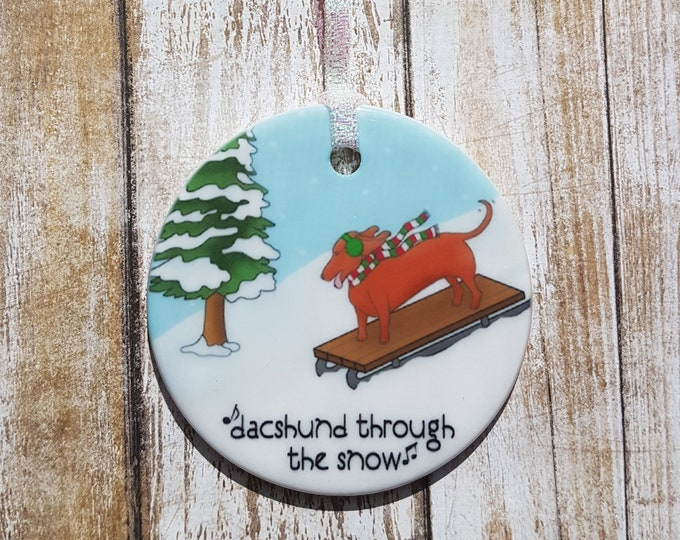 Dacshund Through The Snow Ornament