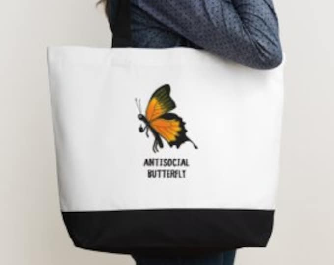 Antisocial Butterfly Deluxe Two Tone Tote Bag