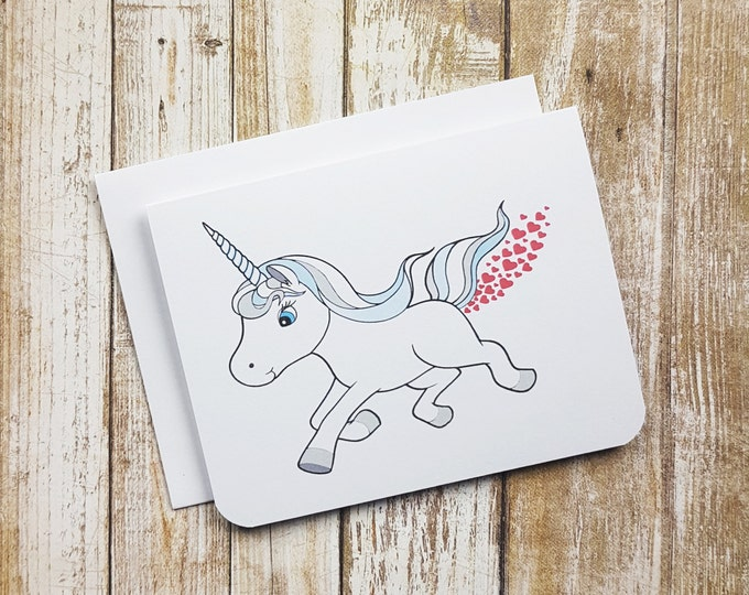 Heart Farting Unicorn Greeting Card- Love - Animal - Funny - Fart