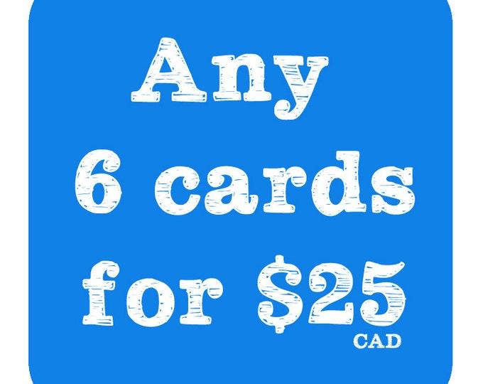 6 cards for 25 - Bulk Discount - Birthday Card - Love Card - Christmas Card - Thank you Card - Marriage Card - Engagement Card - Baby Card