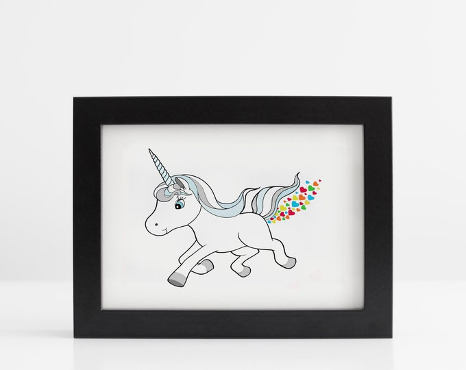 Rainbow Heart Farting Unicorn Art Print