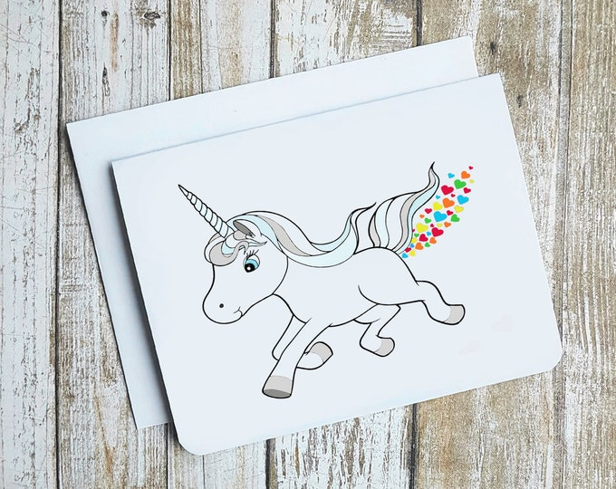 Rainbow Heart Farting Unicorn Card
