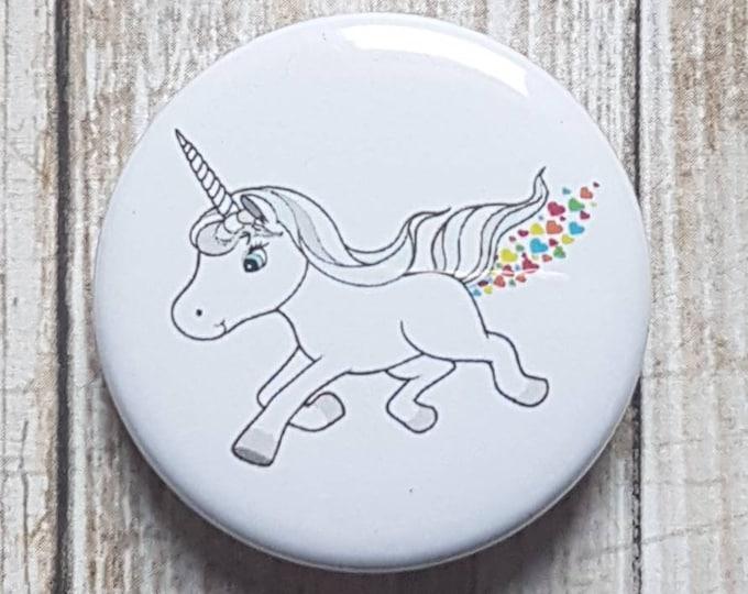 "Heart Farting Unicorn button, 1.5"" pinback button, pin, badge"