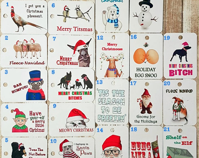 Set of 20 Funny Gift Tags - Mix & Match Gift Tags - Christmas Gift Tags - Christmas Puns - Animal Gift Tags - Dog Gift Tags