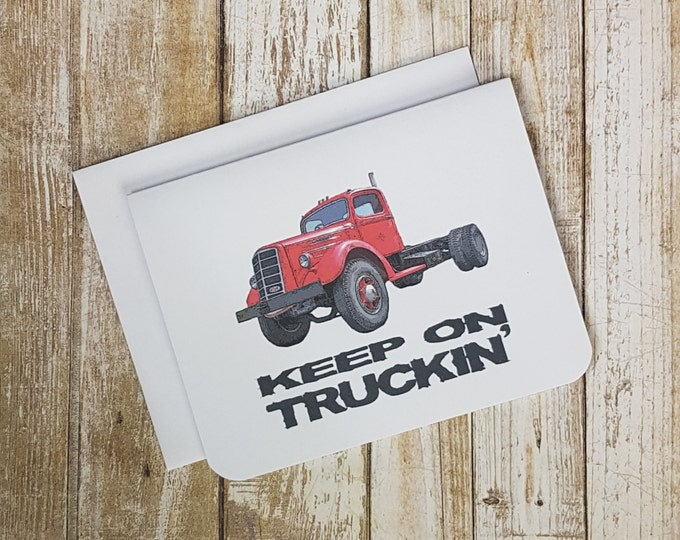 Encouragement Card, Truck Card, Greeting Card, Blank Card, Trucks