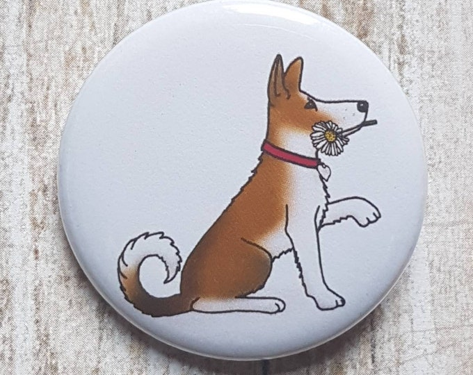 "Dog With Flower button, 1.5"" pinback button, pin, badge"