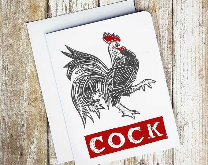 Cock Greeting Card - Naughty - Sexy Card -  Greeting Card - Animal - Funny Card - Farm - Sweary