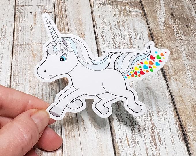 Heart Farting Unicorn Vinyl Sticker