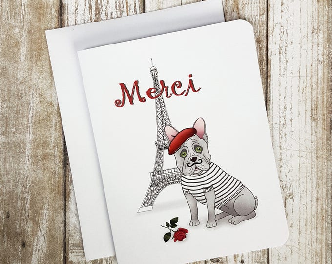 Thank you Card,  French Thank you Card,  Dog Card, Blank Card, French Bulldog Card, French Bulldog, Merci Card
