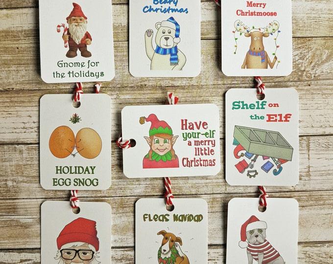 Funny Christmas Gift Tags, Christmas Gift Tags, Christmas Puns, Elf, Dog, Polar Bear, Moose, Gnome, Egg, Hipster, Santa