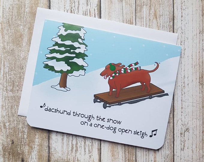 Dacshund Through The Snow Card