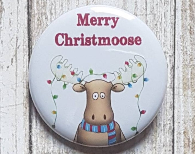 "Merry Christmoose button, 1.5"" pinback button, pin, badge"
