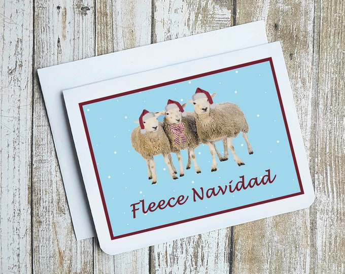 Funny Christmas Card, Funny Holiday Card, Sheep Card, Feliz Navidad Card, Fleece Navidad Card, Christmas Puns, Funny Sheep Card, Sheep