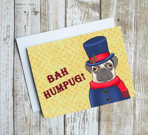 Dog Christmas Puns.Funny Christmas Card Bah Humpug Punny Christmas Card Christmas Puns Dog Christmas Card Pug Card Pug Christmas Cardblank Card