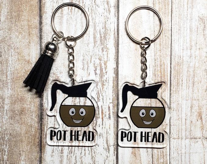 Coffee Pot Head Acrylic Keychain