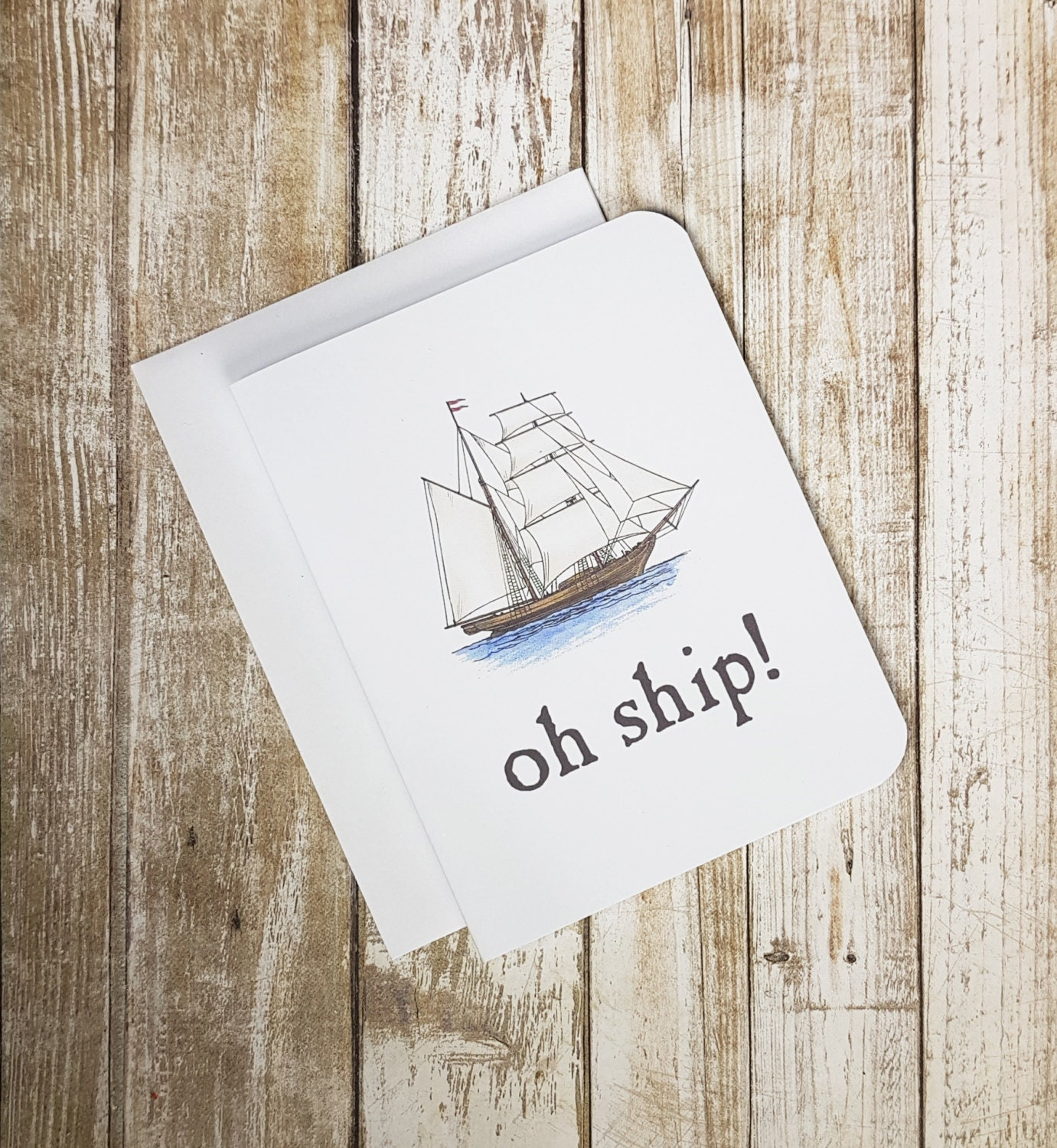 SALE - Apology Card - Oh Ship Greeting Card - Sorry Card