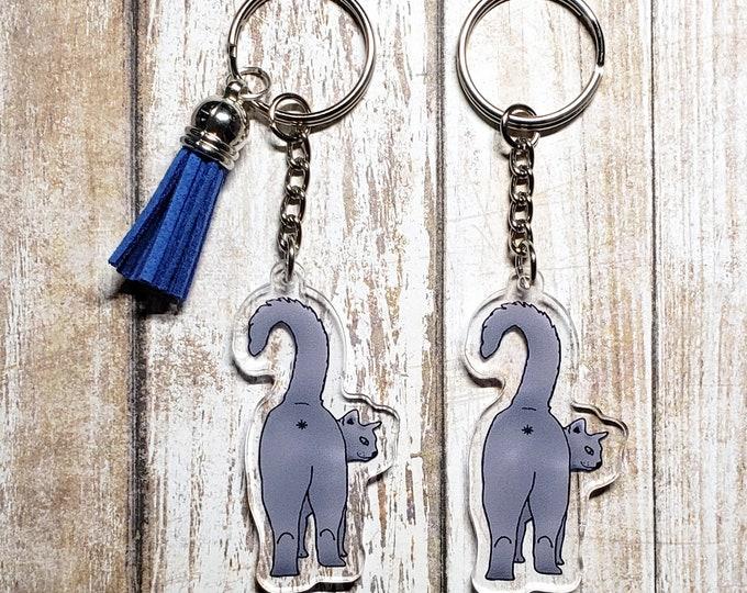 Cat Butt Acrylic Keychain